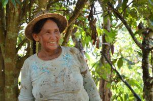 Sapecho Kakaobäuerin bei der Arbeit